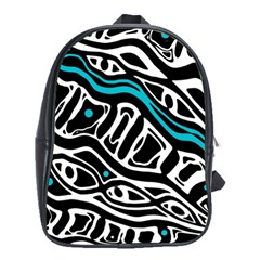 Blue, Black And White Abstract Art School Bags (xl)  by Valentinaart