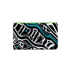 Blue, Black And White Abstract Art Cosmetic Bag (xs) by Valentinaart