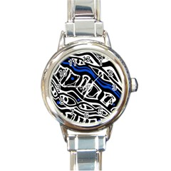 Deep Blue, Black And White Abstract Art Round Italian Charm Watch by Valentinaart