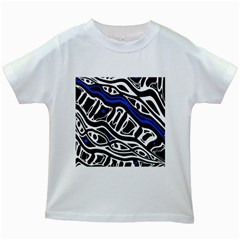 Deep Blue, Black And White Abstract Art Kids White T Shirts by Valentinaart