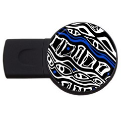 Deep Blue, Black And White Abstract Art Usb Flash Drive Round (2 Gb)  by Valentinaart