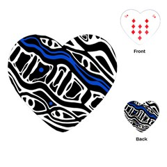 Deep Blue, Black And White Abstract Art Playing Cards (heart)  by Valentinaart