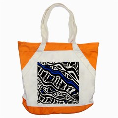 Deep Blue, Black And White Abstract Art Accent Tote Bag by Valentinaart