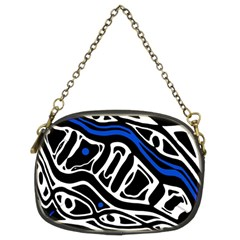 Deep Blue, Black And White Abstract Art Chain Purses (two Sides)  by Valentinaart
