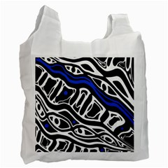 Deep Blue, Black And White Abstract Art Recycle Bag (one Side) by Valentinaart