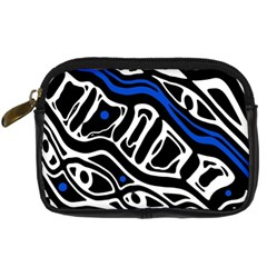 Deep Blue, Black And White Abstract Art Digital Camera Cases by Valentinaart