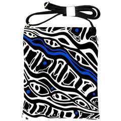 Deep Blue, Black And White Abstract Art Shoulder Sling Bags by Valentinaart
