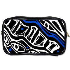 Deep Blue, Black And White Abstract Art Toiletries Bags 2 Side by Valentinaart
