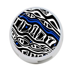 Deep Blue, Black And White Abstract Art 4 Port Usb Hub (two Sides)  by Valentinaart