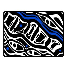 Deep Blue, Black And White Abstract Art Fleece Blanket (small) by Valentinaart