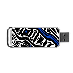 Deep Blue, Black And White Abstract Art Portable Usb Flash (two Sides) by Valentinaart