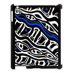Deep Blue, Black And White Abstract Art Apple Ipad 3/4 Case (black) by Valentinaart