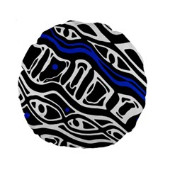 Deep Blue, Black And White Abstract Art Standard 15  Premium Round Cushions by Valentinaart