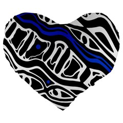 Deep Blue, Black And White Abstract Art Large 19  Premium Heart Shape Cushions by Valentinaart