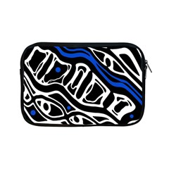 Deep Blue, Black And White Abstract Art Apple Ipad Mini Zipper Cases by Valentinaart