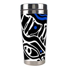 Deep Blue, Black And White Abstract Art Stainless Steel Travel Tumblers by Valentinaart