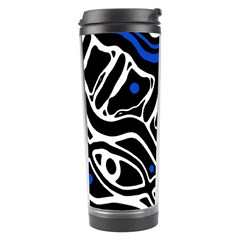 Deep Blue, Black And White Abstract Art Travel Tumbler by Valentinaart