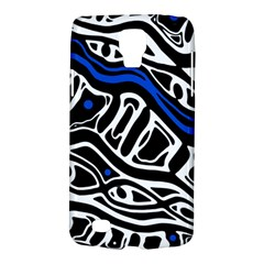Deep Blue, Black And White Abstract Art Galaxy S4 Active by Valentinaart
