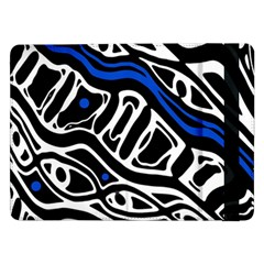 Deep Blue, Black And White Abstract Art Samsung Galaxy Tab Pro 12 2  Flip Case by Valentinaart