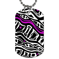 Purple, Black And White Abstract Art Dog Tag (one Side) by Valentinaart