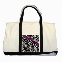 Purple, Black And White Abstract Art Two Tone Tote Bag by Valentinaart