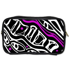 Purple, Black And White Abstract Art Toiletries Bags 2 Side by Valentinaart