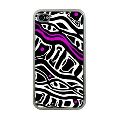 Purple, Black And White Abstract Art Apple Iphone 4 Case (clear) by Valentinaart