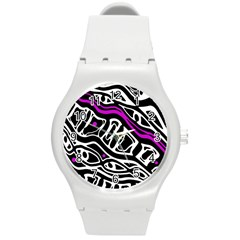 Purple, Black And White Abstract Art Round Plastic Sport Watch (m) by Valentinaart