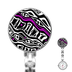Purple, Black And White Abstract Art Stainless Steel Nurses Watch by Valentinaart