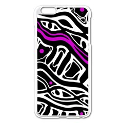 Purple, Black And White Abstract Art Apple Iphone 6 Plus/6s Plus Enamel White Case by Valentinaart