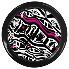 Magenta, Black And White Abstract Art Wall Clocks (black) by Valentinaart