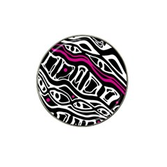 Magenta, Black And White Abstract Art Hat Clip Ball Marker (4 Pack) by Valentinaart