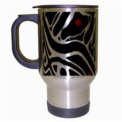 Magenta, Black And White Abstract Art Travel Mug (silver Gray) by Valentinaart
