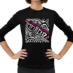 Magenta, Black And White Abstract Art Women s Long Sleeve Dark T Shirts by Valentinaart