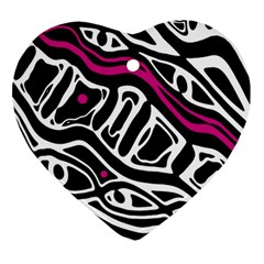 Magenta, Black And White Abstract Art Heart Ornament (2 Sides) by Valentinaart