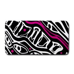 Magenta, Black And White Abstract Art Medium Bar Mats by Valentinaart