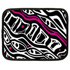 Magenta, Black And White Abstract Art Netbook Case (large) by Valentinaart