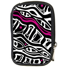 Magenta, Black And White Abstract Art Compact Camera Cases by Valentinaart