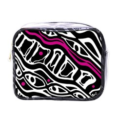 Magenta, Black And White Abstract Art Mini Toiletries Bags by Valentinaart