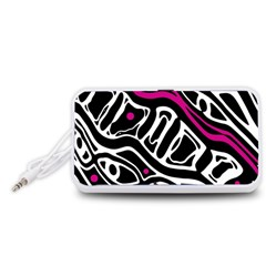 Magenta, Black And White Abstract Art Portable Speaker (white)  by Valentinaart