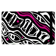 Magenta, Black And White Abstract Art Apple Ipad 3/4 Flip Case by Valentinaart