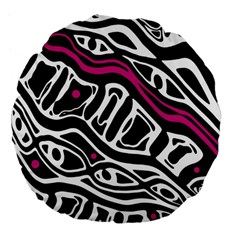 Magenta, Black And White Abstract Art Large 18  Premium Flano Round Cushions by Valentinaart