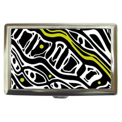 Yellow, Black And White Abstract Art Cigarette Money Cases by Valentinaart