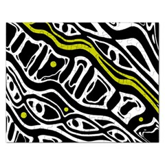Yellow, Black And White Abstract Art Rectangular Jigsaw Puzzl by Valentinaart