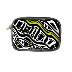 Yellow, Black And White Abstract Art Coin Purse by Valentinaart