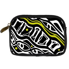Yellow, Black And White Abstract Art Digital Camera Cases by Valentinaart