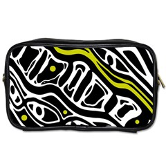 Yellow, Black And White Abstract Art Toiletries Bags by Valentinaart