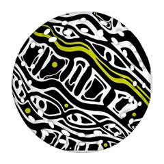 Yellow, black and white abstract art Round Filigree Ornament (2Side) by Valentinaart