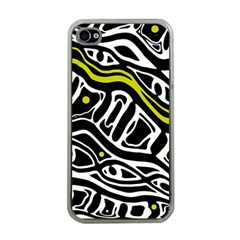 Yellow, Black And White Abstract Art Apple Iphone 4 Case (clear) by Valentinaart