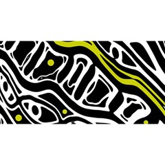 Yellow, Black And White Abstract Art You Are Invited 3d Greeting Card (8x4) by Valentinaart